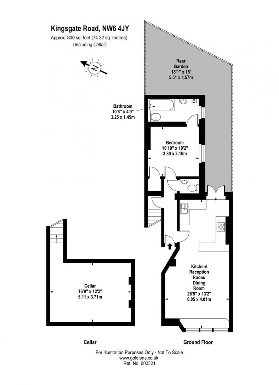 Floorplan for Kingsgate Road, West Hampstead, London