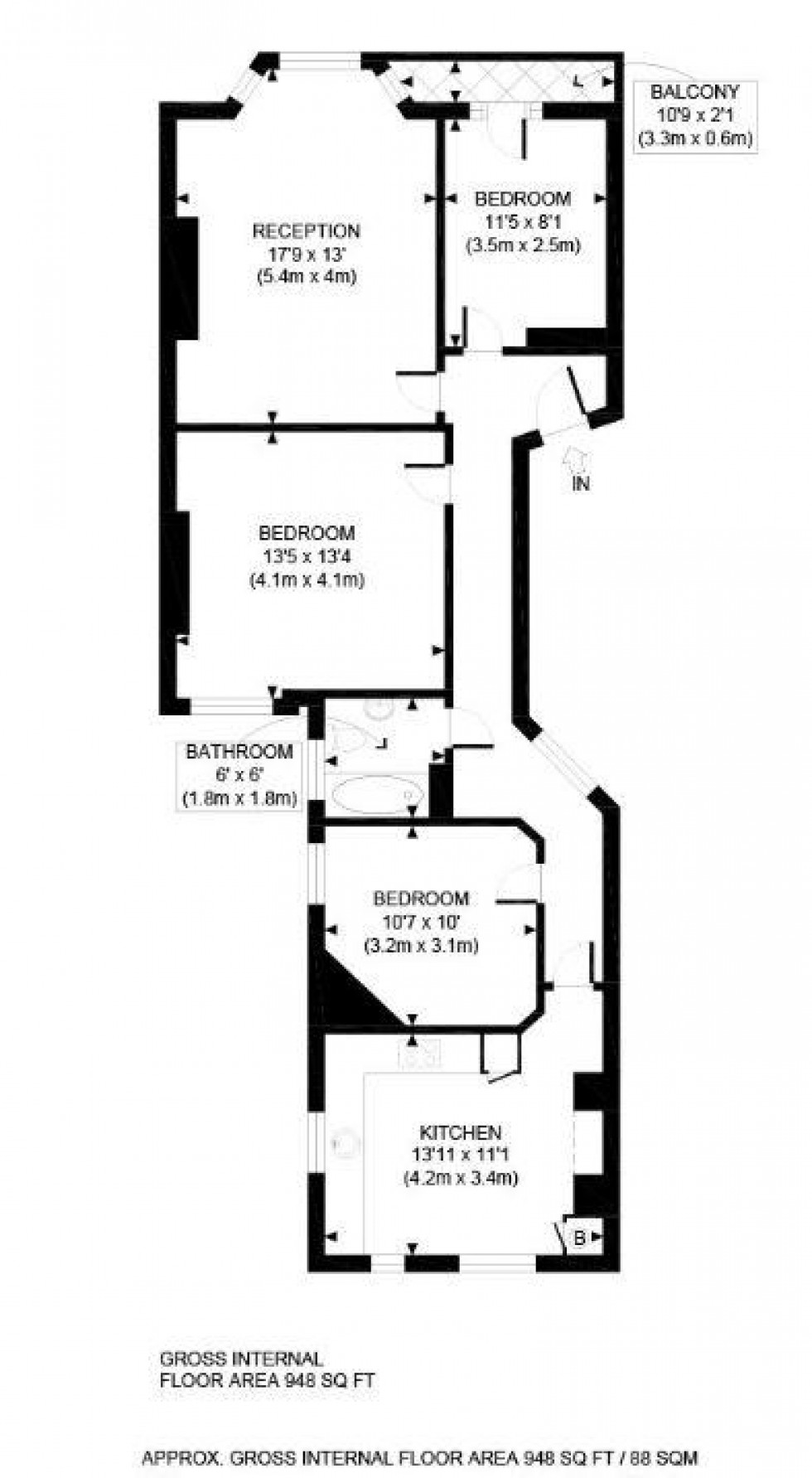 Floorplan for Castellain Mansions, Castellain Road, Maida Vale, London