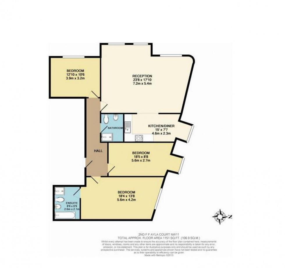 Floorplan for Ayla Court, Ravenscroft Avenue, Golders Green, London
