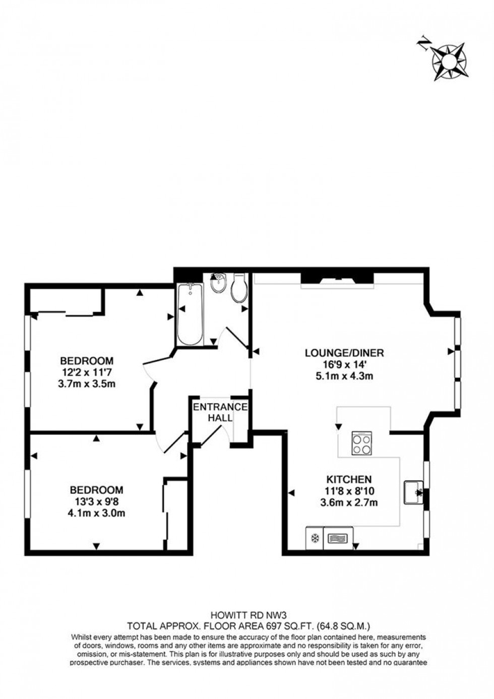 Floorplan for Howitt Road, Belsize Park, London