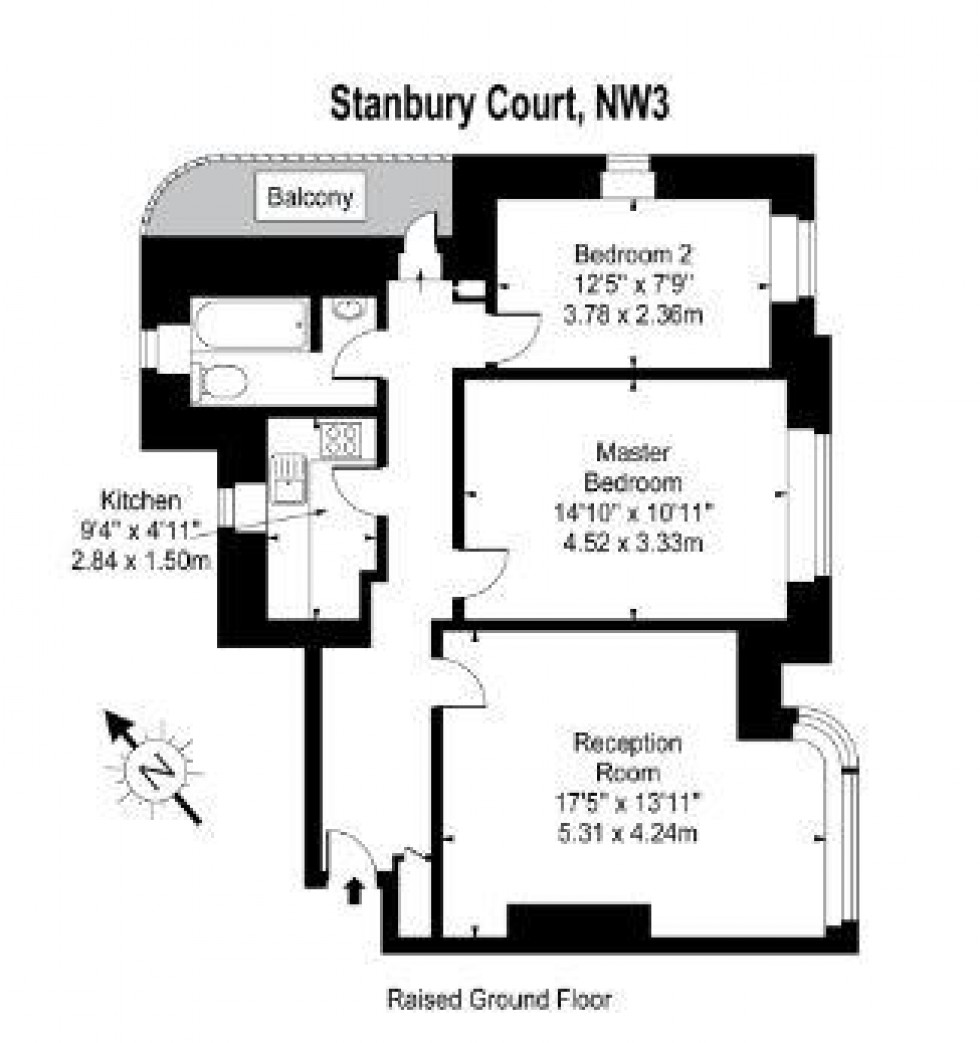 Floorplan for Stanbury Court, Haverstock Hill, Belsize Park, London
