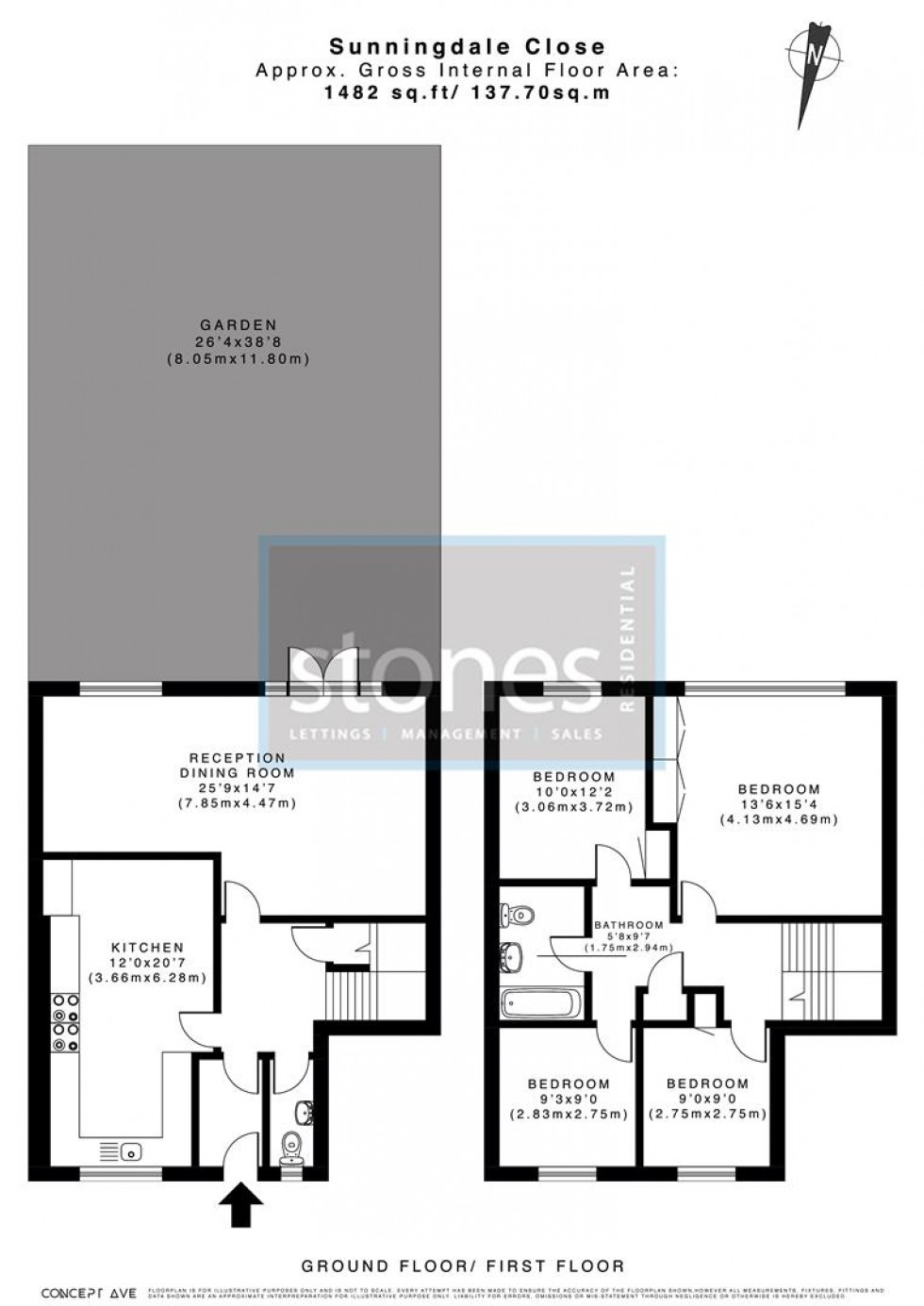 Floorplan for Sunningdale Close, Stanmore
