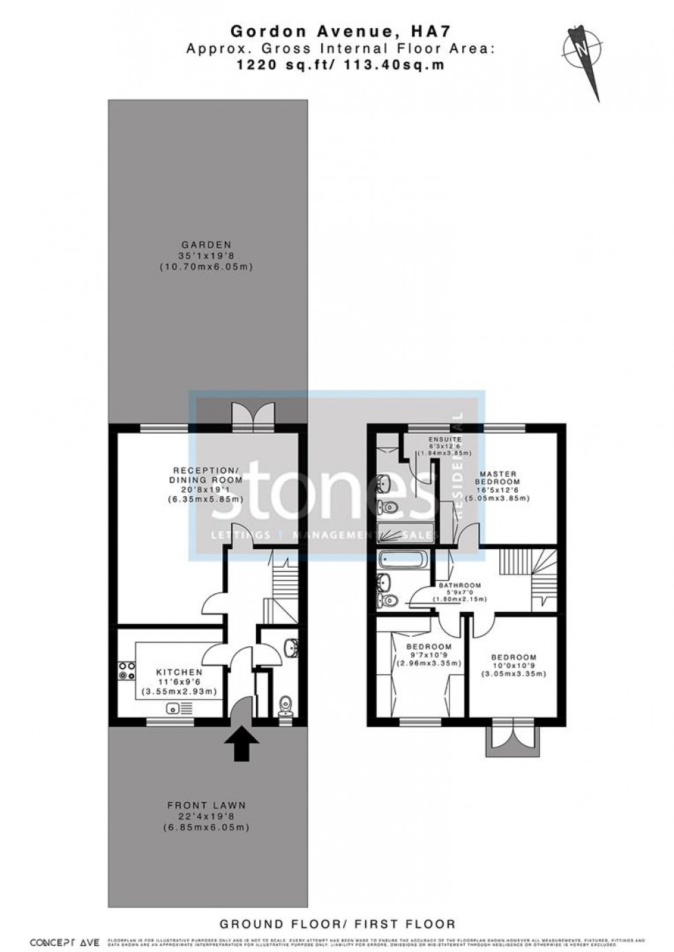 Floorplan for Gordon Avenue, Stanmore