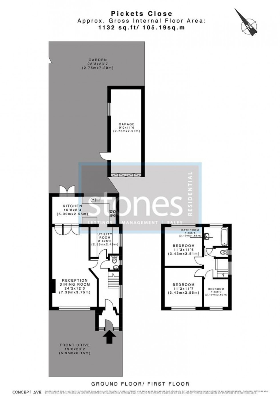 Floorplan for Pickets Close, Bushey Heath, Bushey