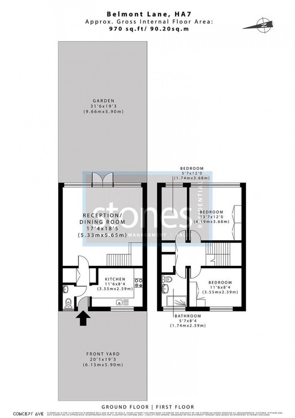Floorplan for Belmont Lane, Stanmore