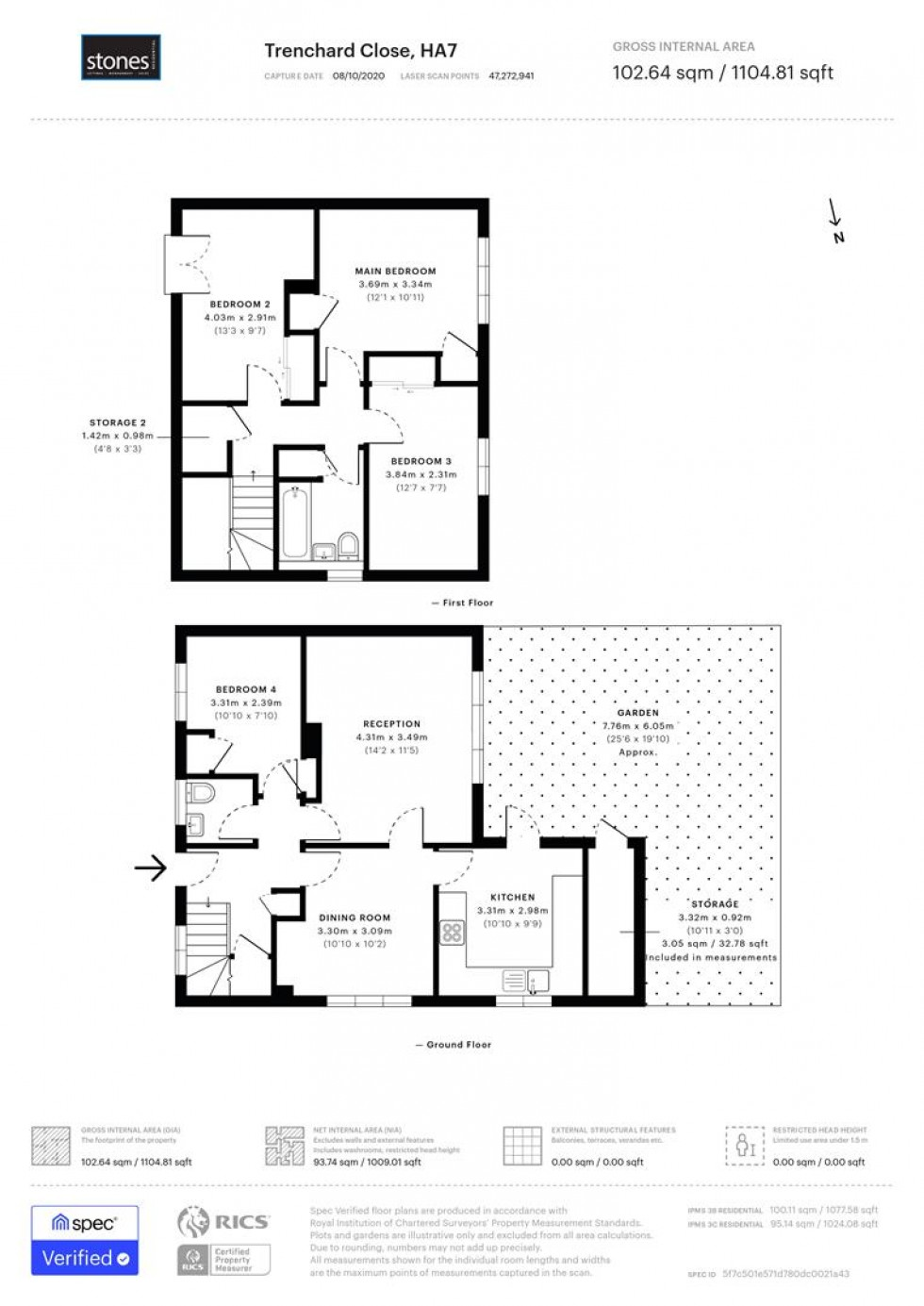 Floorplan for Trenchard Close, Stanmore, HA7