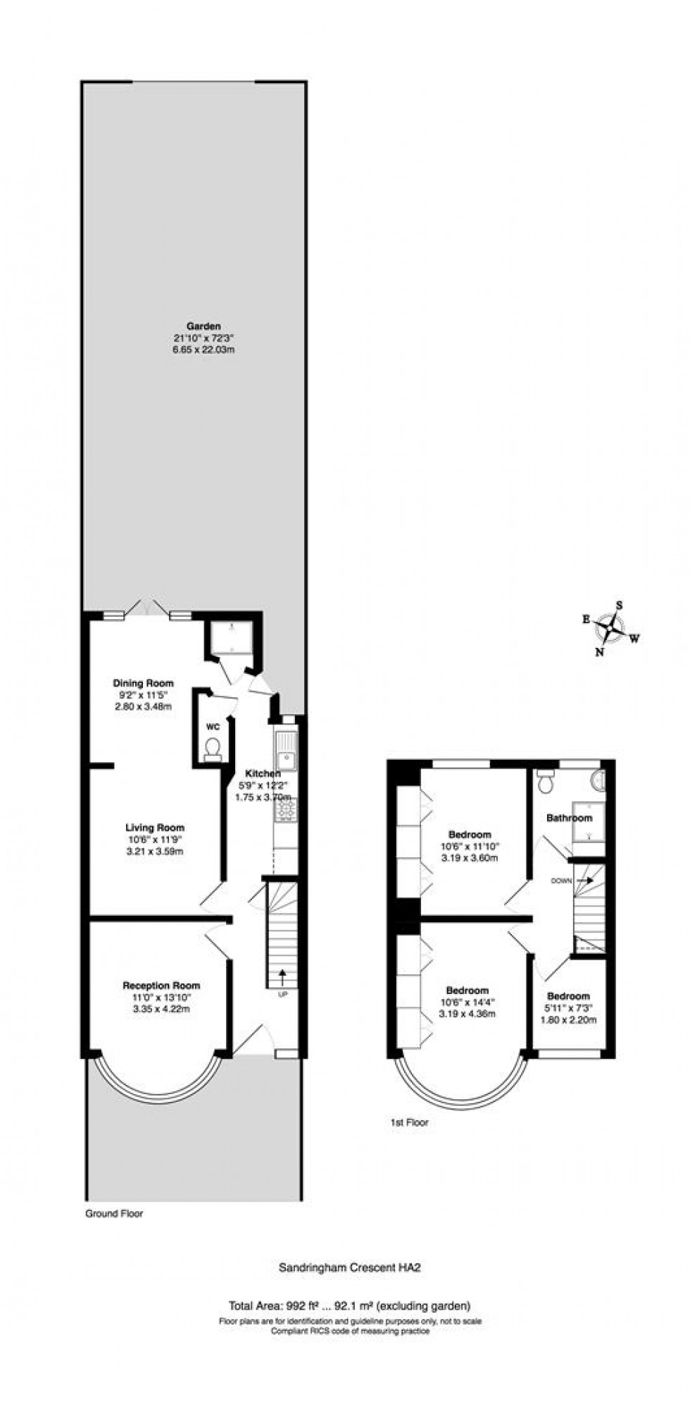 Floorplan for Sandringham Crescent, Harrow