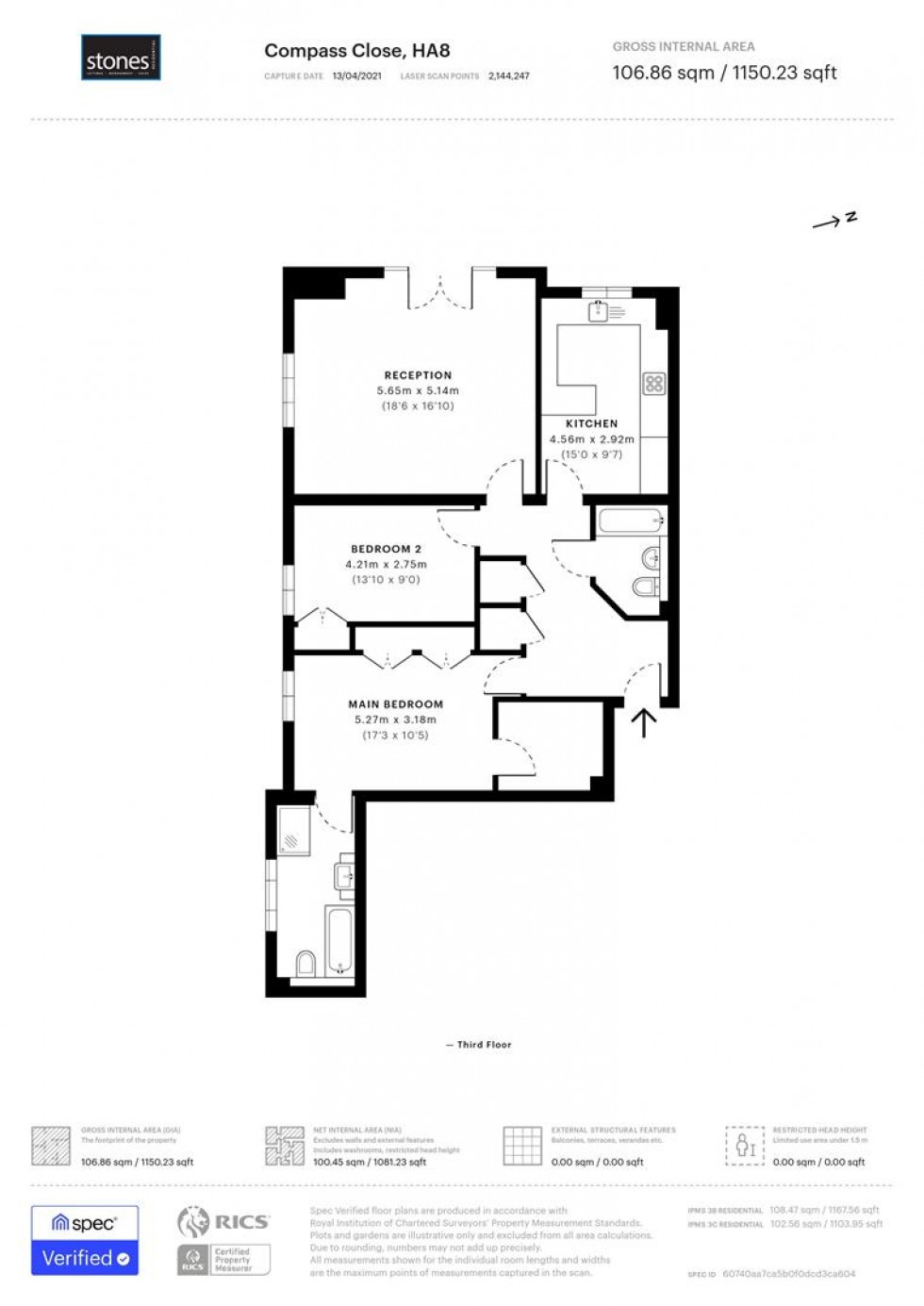 Floorplan for Compass Close, Edgware